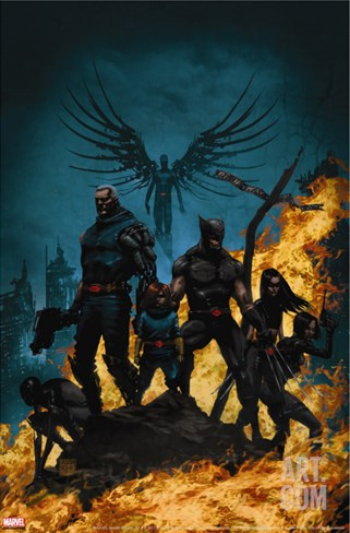 X-Force/Cable: Messiah War No.1 Cover: Wolverine, Cable, Archangel, X-23, Domino and Hope Stretched Canvas Print