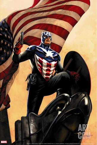 Captain America No.34 Cover: Captain America Stretched Canvas Print