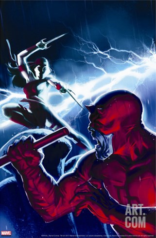 The Mighty Avengers No.16 Cover: Daredevil and Elektra Stretched Canvas Print