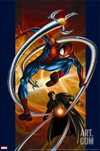 Ultimate Spider-Man No.57 Cover: Spider-Man and Doctor Octopus Stretched Canvas Print