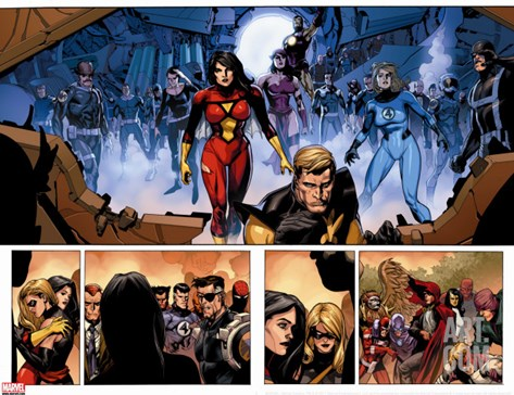 Secret Invasion No.8 Group: Spider Woman, Invisible Woman, Pym and Hank Stretched Canvas Print