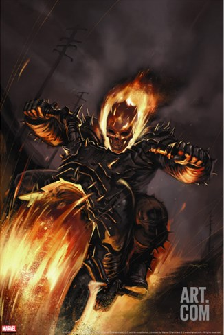Ghost Rider No.20 Cover: Ghost Rider Fighting Stretched Canvas Print