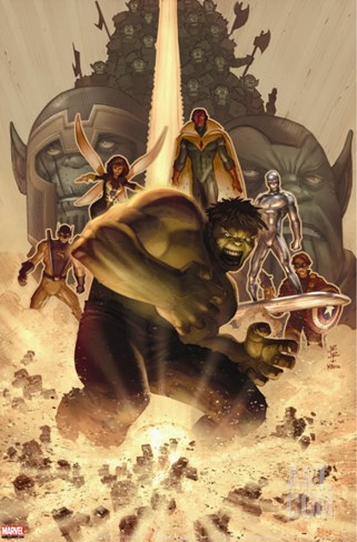 What if? Wolrd War Hulk No.1 Cover: Hulk, Giant Man, Wasp, Vision and Silver Surfer Stretched Canvas Print