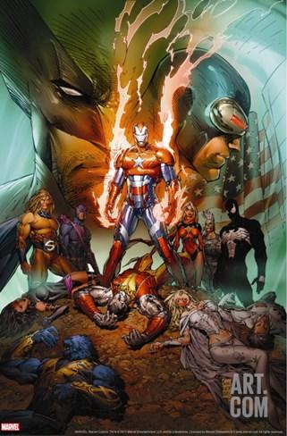 Dark Avengers/Uncanny X-Men: Utopia No.1 Cover: Iron Patriot Stretched Canvas Print