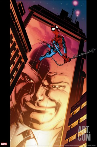 Ultimate Spider-Man No.110 Cover: Spider-Man and Kingpin Crawling Stretched Canvas Print