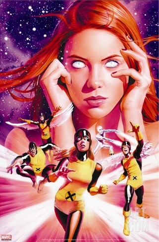 X-Men Origins: Jean Grey #1 Cover: Grey, Jean, Marvel Girl, Cyclops and Beast Stretched Canvas Print