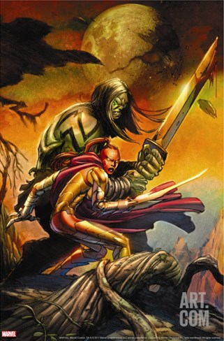 Skaar: Son Of Hulk Cover: Skaar and Omaka Stretched Canvas Print