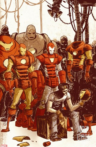 Iron Man & The Armor Wars No.1 Cover: Stark and Tony Stretched Canvas Print