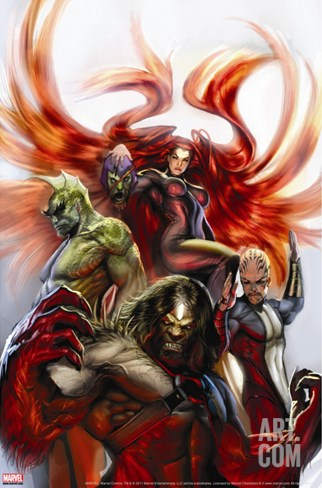 Secret Invasion: Inhumans No.3 Cover: Medusa, Gorgon, Karnak and Triton Stretched Canvas Print