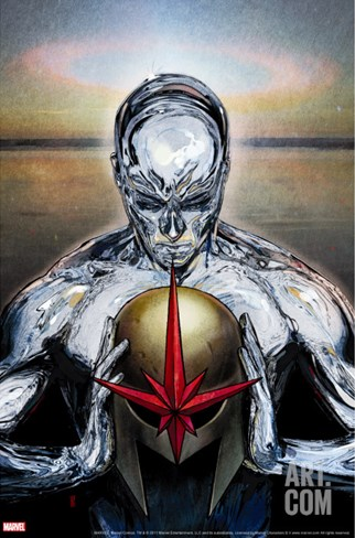Nova No.14 Cover: Silver Surfer Stretched Canvas Print
