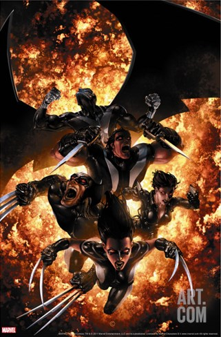 X-Force No.12 Cover: X-23, Wolverine, Domino, Warpath and Archangel Stretched Canvas Print