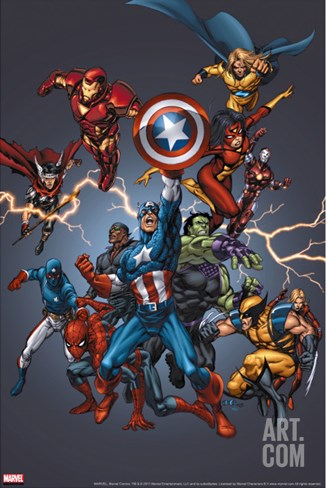Official Handbook: Avengers 2005 Cover: Captain America, Hulkling and Cage Stretched Canvas Print