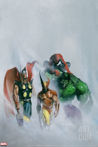 Secret War V1 #1 Group: Wolverine, Thor, Hulk and Spider-man Stretched Canvas Print