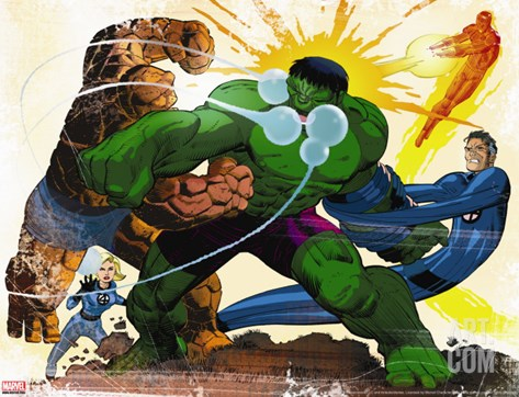 Fall of the Hulks: Gamma No.1 Group: Hulk, Thing, Invisible Woman, Mr. Fantastic and Human Torch Stretched Canvas Print