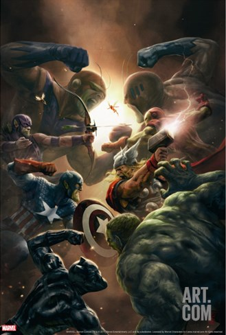 New Avengers No.43 Cover: Captain America, Thor and Black Panther Stretched Canvas Print