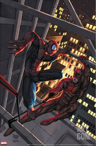 Marvel Age Spider-Man No.15 Cover: Spider-Man and Daredevil Stretched Canvas Print