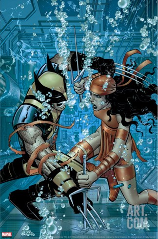 Wolverine No.21 Cover: Wolverine and Elektra Stretched Canvas Print