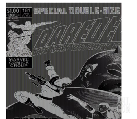 Daredevil No.181 Cover: Bullseye, Daredevil and Elektra Stretched Canvas Print