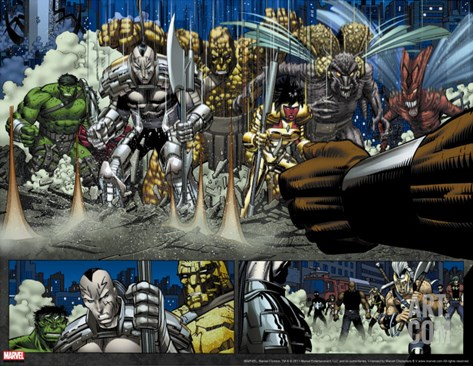 World War Hulk No.2 Group: Hulk, Hiroim, Korg, Elloe Kaifi, Miek and No-Name Stretched Canvas Print