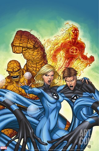 Marvel Adventures Fantastic Four No.48 Cover: Invisible Woman, Mr. Fantastic, Thing and Human Torch Stretched Canvas Print