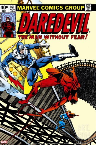 Daredevil No.161 Cover: Daredevil, Bullseye and Black Widow Stretched Canvas Print