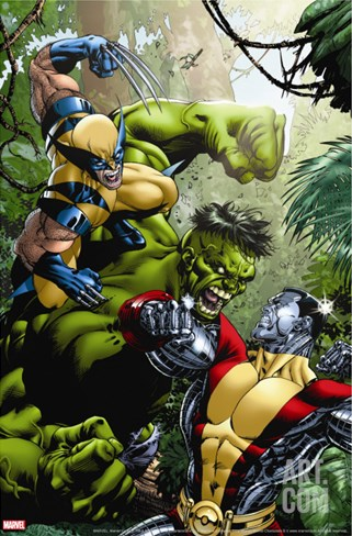 X-Men Vs Hulk No.1 Cover: Wolverine, Colossus and Hulk Stretched Canvas Print
