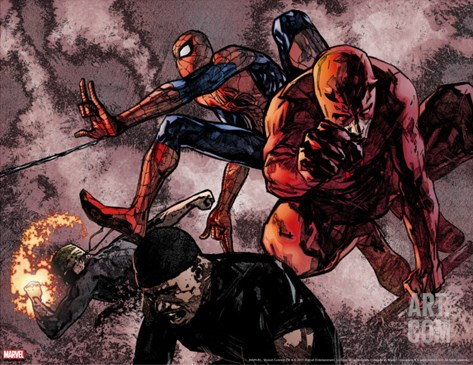 Daredevil #60 Group: Daredevil, Spider-Man, Iron Fist, and Luke Cage Fighting Stretched Canvas Print