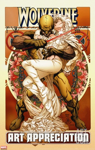 Wolverine Art Appreciation One-Shot Canvas Cover Cover: Wolverine and Emma Frost Stretched Canvas Print