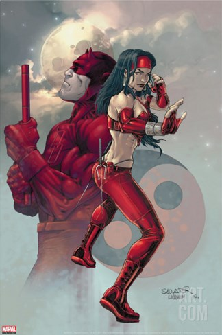 Ultimate Elektra No.3 Cover: Daredevil and Elektra Stretched Canvas Print