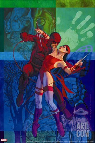 Elektra #35 Cover: Daredevil and Elektra Fighting and Shooting Stretched Canvas Print