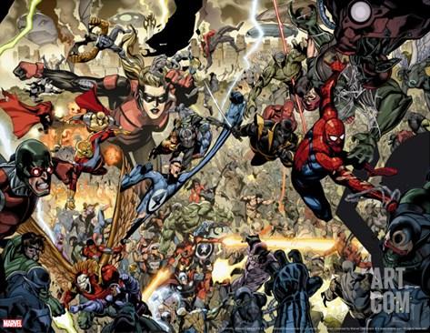 Secret Invasion No.7 Group: Spider-Man, Ronin, Mr. Fantastic and Stature Stretched Canvas Print