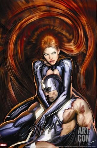 Secret Invasion: Inhumans No.4 Cover: Black Bolt and Medusa Stretched Canvas Print