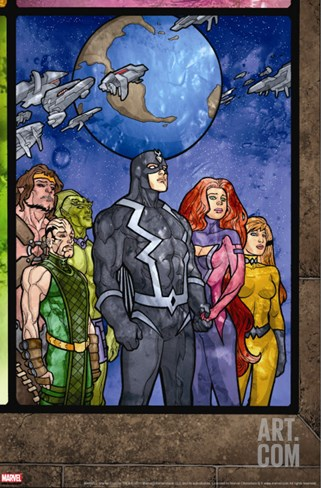 Secret Invasion: Inhumans No.4 Group: Black Bolt, Medusa, Karnak, Gorgon, Crystal and Triton Stretched Canvas Print