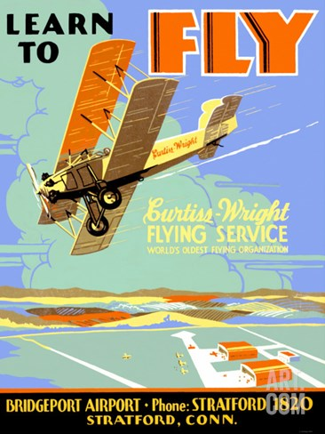 Learn to Fly Curtiss Flight School Stretched Canvas Print