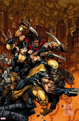 X-Factor No.26 Cover: Wolverine and X-23 Stretched Canvas Print