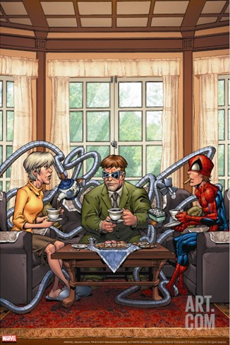 Marvel Adventures Spider-Man No.33 Cover: Spider-Man, May Parker and Doctor Octopus Swinging Stretched Canvas Print