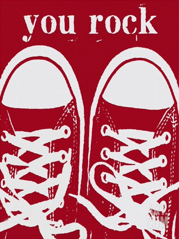 You Rock Red Sneakers Stretched Canvas Print