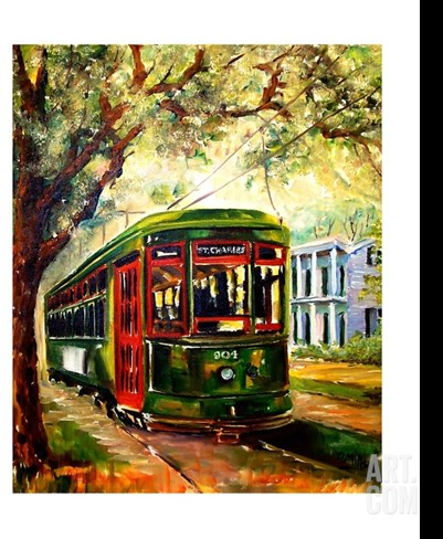 New Orleans St Charles Streetcar Stretched Canvas Print