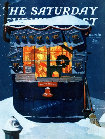 """""""Newsstand in the Snow"""" Saturday Evening Post Cover, December 20,1941 Stretched Canvas Print"""