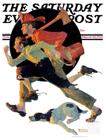 """To the Rescue"" Saturday Evening Post Cover, March 28,1931 Stretched Canvas Print"