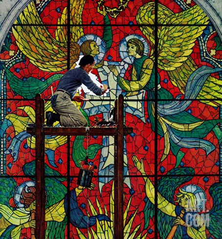 """Repairing Stained Glass"", April 16,1960 Stretched Canvas Print"