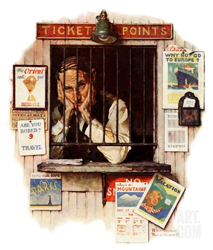 """Ticket Agent"", April 24,1937 Stretched Canvas Print"