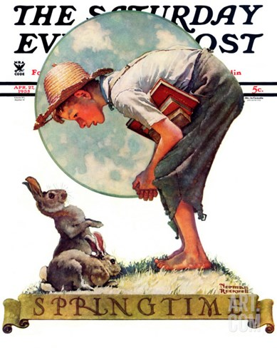 """Springtime, 1935 boy with bunny"" Saturday Evening Post Cover, April 27,1935 Stretched Canvas Print"
