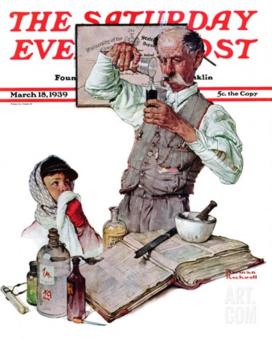 """Pharmacist"" Saturday Evening Post Cover, March 18,1939 Stretched Canvas Print"