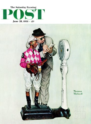 """Jockey Weighing In"" Saturday Evening Post Cover, June 28,1958 Stretched Canvas Print"
