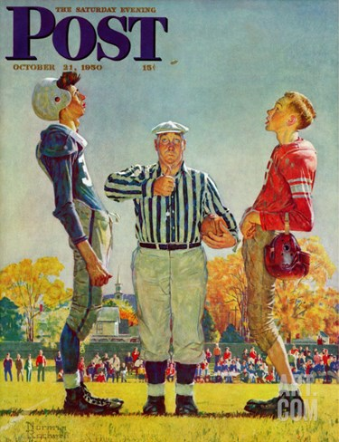 """Coin Toss"" Saturday Evening Post Cover, October 21,1950 Stretched Canvas Print"