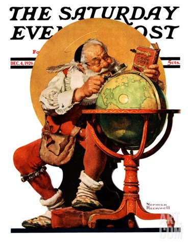 """Santa at the Globe"" Saturday Evening Post Cover, December 4,1926 Stretched Canvas Print"