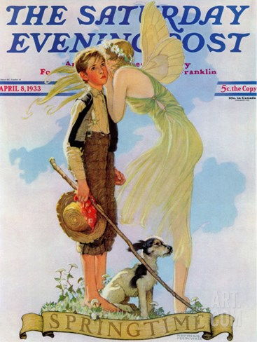 """Springtime, 1933"" Saturday Evening Post Cover, April 8,1933 Stretched Canvas Print"