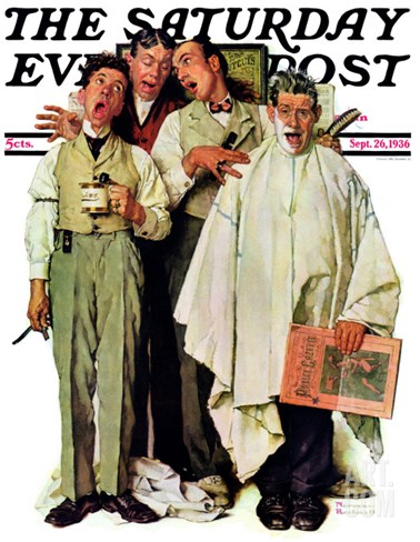 """Barbershop Quartet"" Saturday Evening Post Cover, September 26,1936 Stretched Canvas Print"