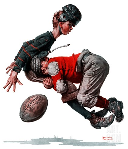 """Fumble"" or ""Tackled"", November 21,1925 Stretched Canvas Print"